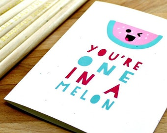 "Watermelon Mother's Day Card, Funny Mother's Day Card, Card for Mom, Punny, Anniversary Card, ""one in a melon,"" Card for Him, Card for Her,"