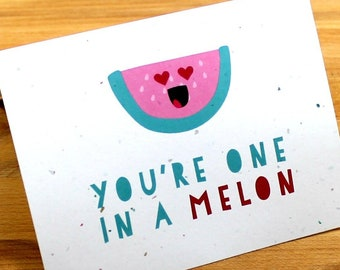 Watermelon Love Card, One in a Melon, Valentine's Card, Valentine Card, Card for Special Person, Punny Card, Pun Card, One in a Million