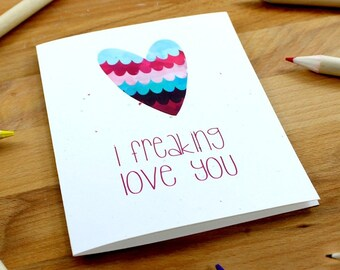 Valentine's Card, I Freaking Love You, Girlfriend Valentine Card, Adult Valentine Card, Swear Valentines, Love Card Funny, Funny Wife Card