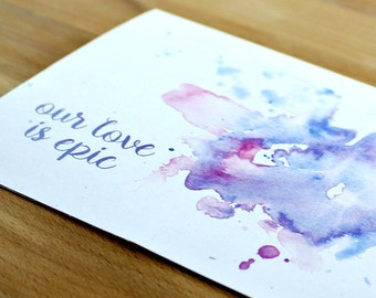 Fantasy Love Card, Epic Love Card, Epic Gift, Love Card, Watercolor Card, Valentine's Card, Anniversary Card, Purple Card, Greeting Card