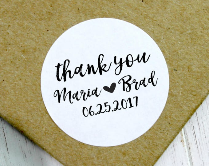 Featured listing image: Wedding Thank You Stickers, Wedding Stickers, Custom Wedding Stickers, Wedding Labels, Wedding Favor Stickers, Wedding Favour (11-0001-035)
