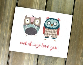 Owl Card, Cute Valentine, Owl Always Love You, Woodland Valentine, Owl Valentine Card, Valentines Card, Cute Valentine's Day Card