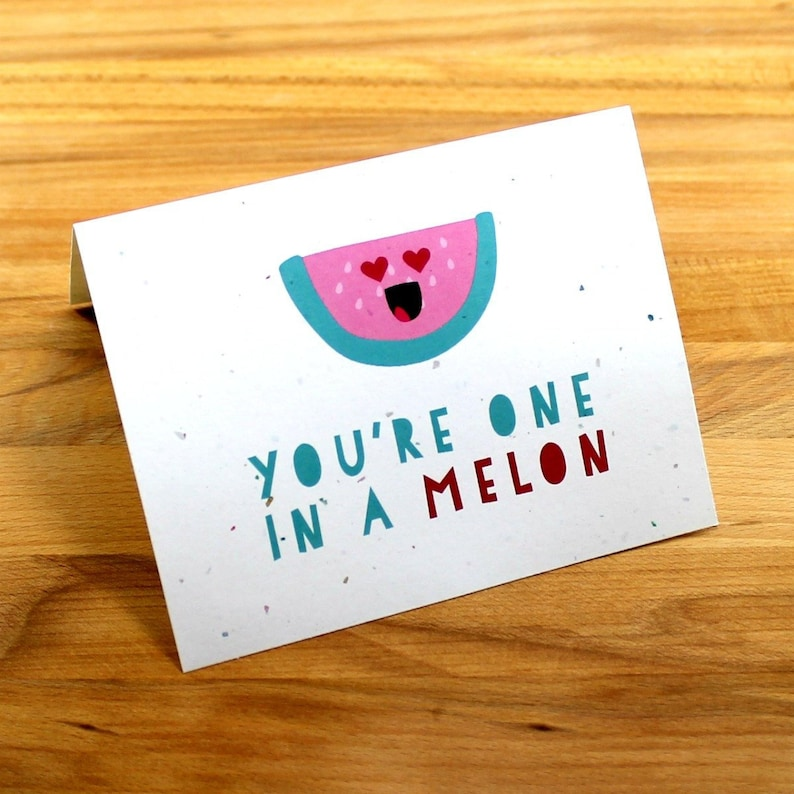 Watermelon Love Card One in a Melon Valentine's Card image 0