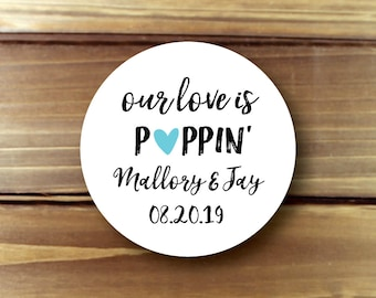 Our Love is Poppin, Our Love is Popping, Popcorn Stickers, Popcorn Bar, Popcorn Bags, Popcorn Boxes, Popcorn Favor Stickers, Popcorn Favour