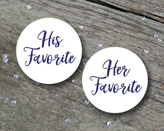 His and Hers Stickers, Wedding Favours, His Favorite Her Favorite, His & Hers Candy Stickers, Candy Labels, His and Hers, Candy Buffet Label