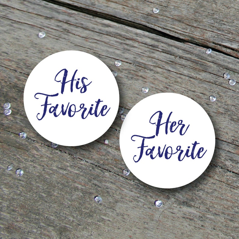 His and Hers Stickers Wedding Favours His Favorite Her image 0