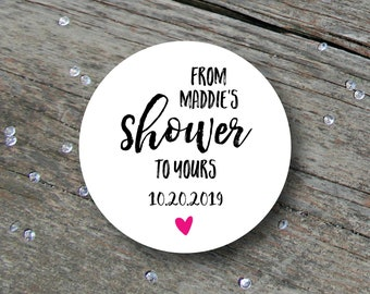 Bridal Shower Labels, Bridal Shower Labels for Favors, From My Shower to Yours, Personalized Bridal Shower Stickers, Bridal Shower Favours