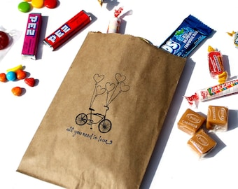 "Wedding Candy Bags (25), Wedding Favor Bags, Candy Buffet Bags - Bicycle Heart Balloons ""all you need is love"" - Kraft Paper or White Paper"