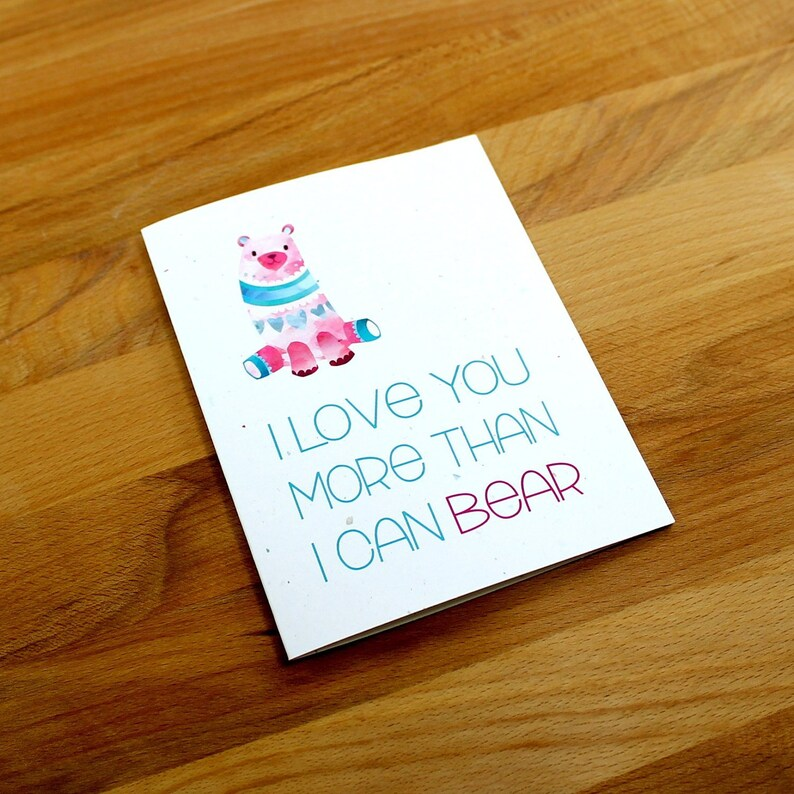Bear Valentine Card Funny Valentine's Day Card image 0