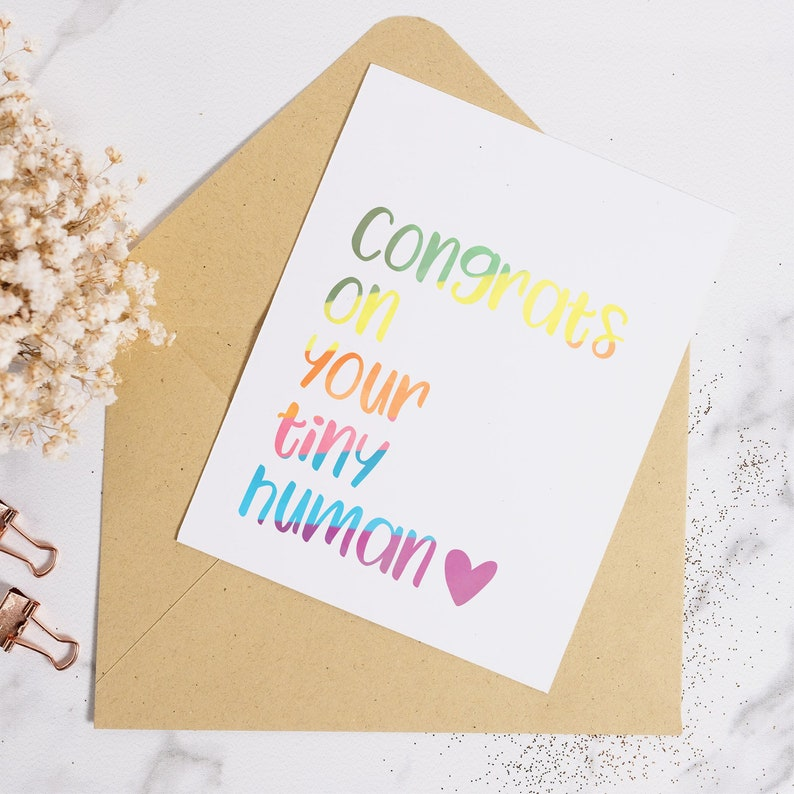 Rainbow Baby Welcome Baby Card Baby Card Rainbow Baby Card Tiny Human Card Funny Baby Card Rainbow Baby Shower Rainbow Baby Gift