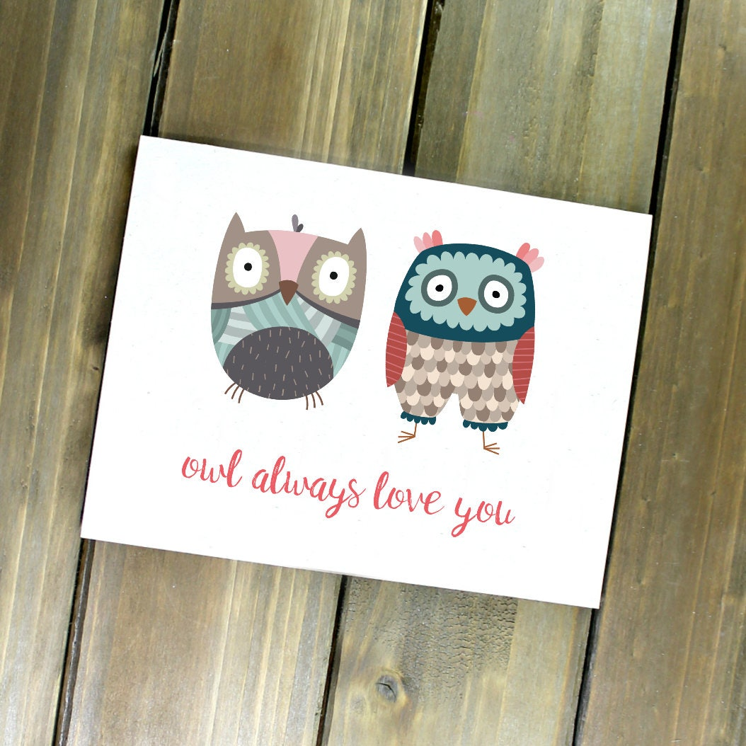 Owl Card Cute Valentine Owl Always Love You Woodland Valentine