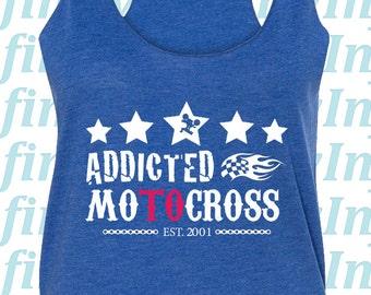 bd5c3e0ed877b CUSTOM Addicted to Motocross Women s Racerback Tank Top - Royal Blue -  Extreme Sports   Fitness   Activewear   Athletic   Motor Sports Tank