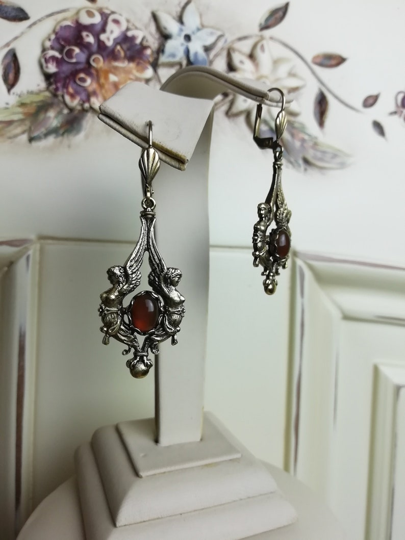 Angels jewellery angel earrings cherub vintage earrings Victorian angel cornelian