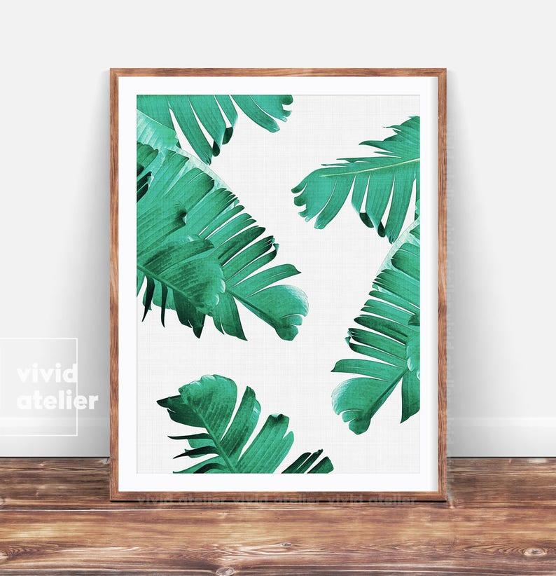 graphic regarding Etsy Printable Wall Art titled Palm Leaf Print, Tropical Print, Banana Leaf Wall Artwork, Printable Artwork, Tropical Wall Artwork Prints, Downloadable Prints, Electronic Prints, Artwork