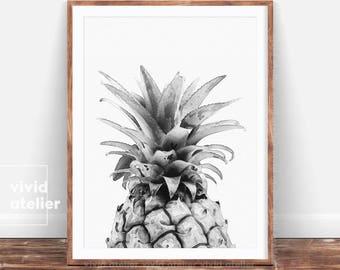 Pineapple, Black and White Pineapple Print, Watercolor Pineapple, Printable Pineapple, Pineapple Wall Art, Best Selling Items, Pineapple Art