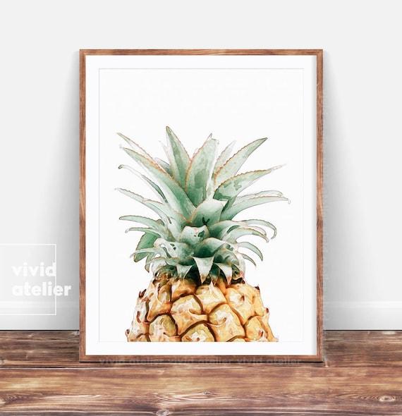 good Pineapple Wall Art Part - 13: Pineapple Print Pineapple Wall Art Prints Printable Kitchen   Etsy