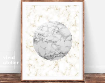 Marble Print, Minimalist Poster, Marble Printable, Faux Gold Wall Art, Marble Wall Print, Modern Art Affiche, Abstract Decor, Minimal Circle