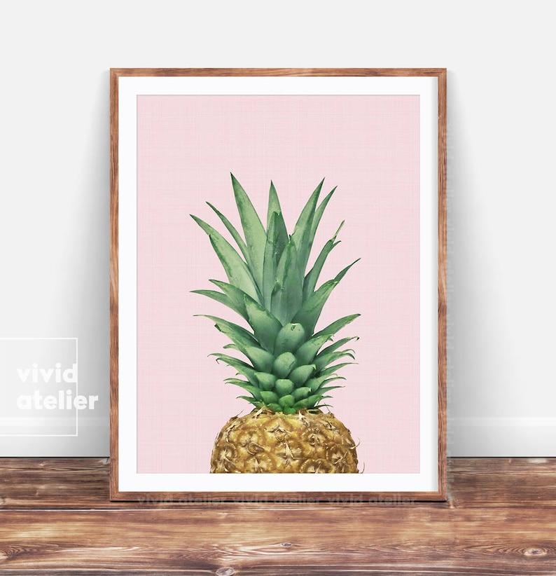 Tropical Decor Pineapple Print Pineapple Wall Art Printable image 1