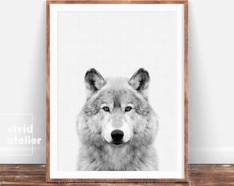 Wolf Print, Wolf Poster, Woodlands Animal Print, Black and White Forest Animals, Nursery Animal Photo Prints, Nursery Wall Art Printables