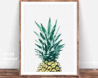 Pineapple Print, Tropical Printable Art, Pineapple Wall Print, Wall Decor, Pineapple Wall Art, Pineapple Poster, Watercolor Pineapple, Print