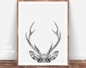 Deer Print, Woodland Nursery, Nursery Wall Art, Printable Art, Deer Head, Nursery Decor, Woodland Animal Print, Downloadable Prints, Poster