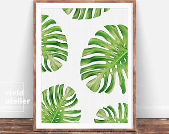 Monstera Leaf Print, Digital Download, Wall Decor, Tropical Print, Home Decor, Botanical Wall Print, Plant Leaf Print, Botanical Leaves Art