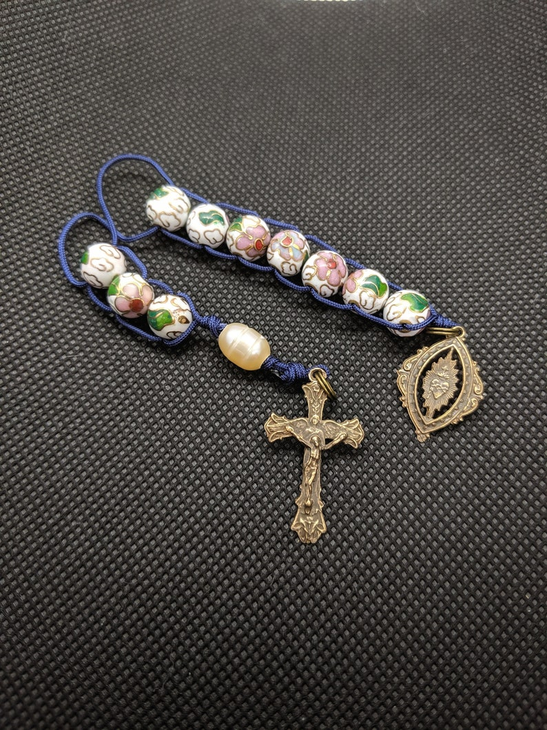 Bronze Sacred Heart  vintage cloisonne sacrifice beads image 0