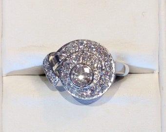 Antique vintage 1.5 Ct old european diamond platinum ring