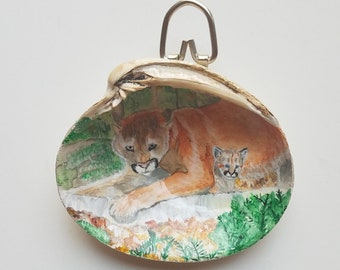 562885e9edd1 Mama cougar and cub on natural shell Cougar painting Cougar art Puma  painting Big cat fan gift Animal lovers gift Miniature painting