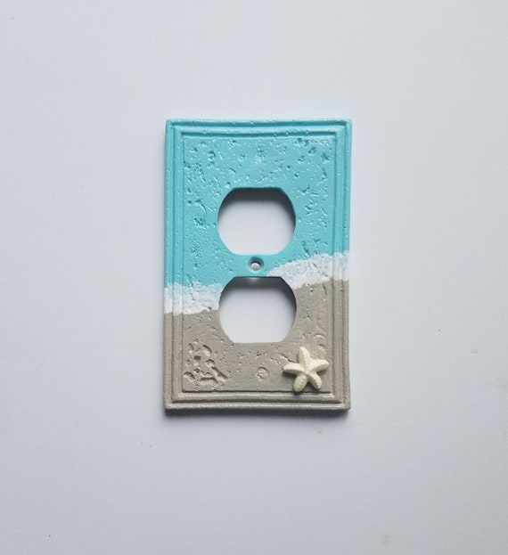 beach scene outlet plate beach decor bathroom decor gift etsy rh etsy com Beach Bathroom Decor DIY Beach Themed Bathroom Decor