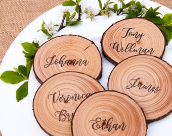 Wood Slice Place Cards, Wood Slice Place Settings, Wedding Place Cards, Rustic Escort Cards, Personalized Place Cards, Custom Place Cards