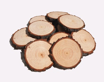 20 Wood Slices 6 - 8 cm • Rustic Wood Rounds • 3 Inch Wood Slices • Wood Slice Christmas Ornaments • Blank Wood Slices for crafts