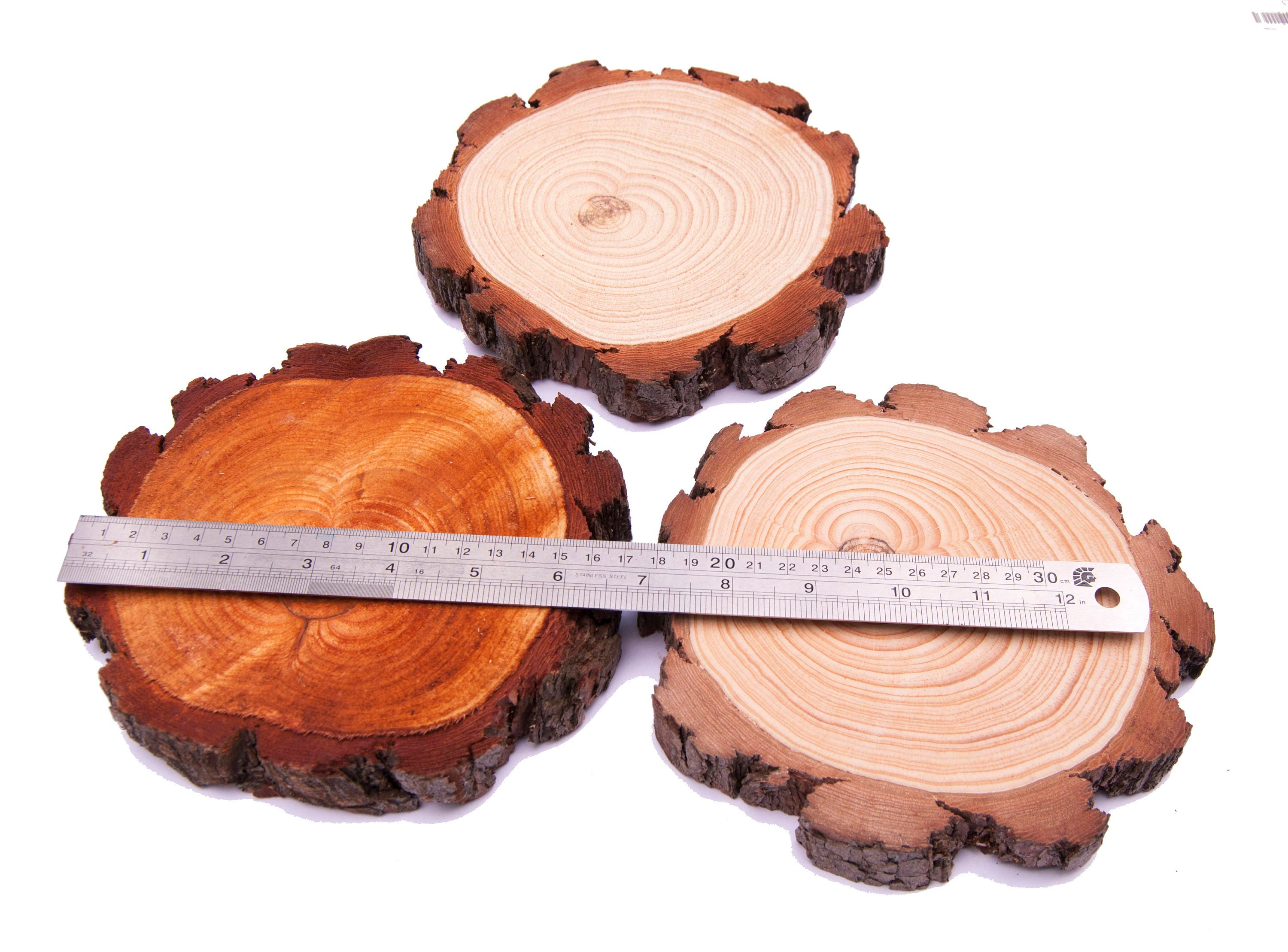 """25 3-4/"""" Rustic Wood Tree slices Wedding Decor Coaster Ornament Natural Rounds"""