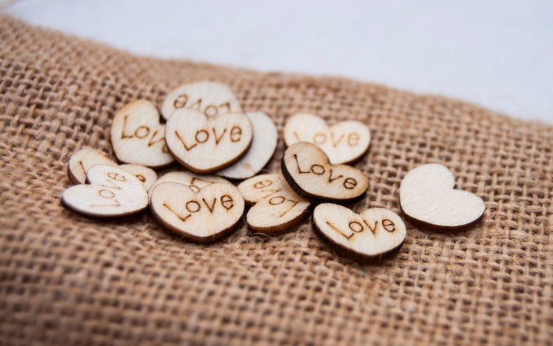 100 Wedding Table Scatter Wood Hearts 1/2 inch diameter  image 0