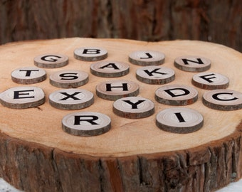 Alphabet Letters, Alphabet magnets, Magnetic Letters, Natural Learning, ABC magnets, Wood Slice Magnets, Natural Wood ABC, Fridge Letters