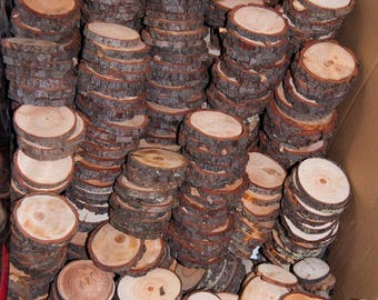 100 Discount Woodslices • Assorted Pack of Wood Slices • Tree Slices, Branch Slices • Bulk Wood Slices • Wood Rounds, 100 Wood Slice Seconds