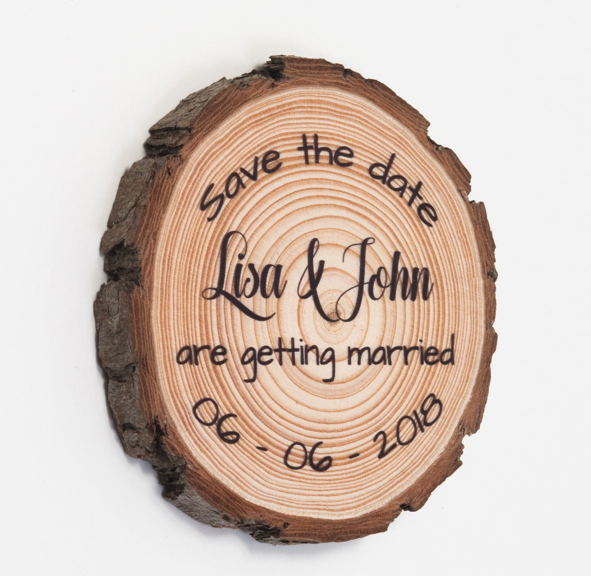 Wood Slice Save The Date Magnets Save-The-Date Wooden Save