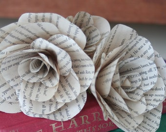 Harry Potter Book Page Paper Roses- Gift, wedding, decor