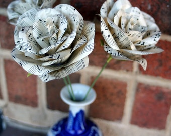Vintage Sheet Music Roses- Paper roses, Christmas gift, Recycled gift