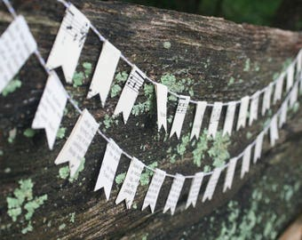 Small Paper Bunting - Vintage sheet music and book pages, decor