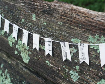 Small Paper Bunting - vintage sheet music and book pages
