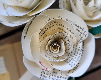 Vintage Library Card Catalog roses- Gift, wedding, teacher, vintage, bride, librarian gift