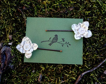 Book page or sheet music bobby pins: Hair accessories