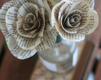 Shakespeare Book page Paper Roses- Literary gift