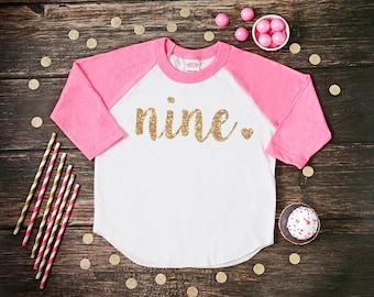 Nine Year Old Birthday Shirt   Ninth Birthday Girl Shirt   9 Year Birthday Shirt   9th Birthday Shirt   Birthday Girl Outfit   Raglan