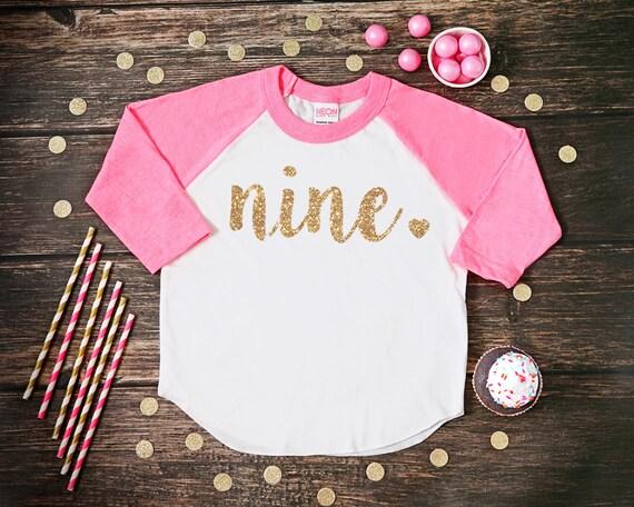 Nine Year Old Birthday Shirt Ninth Girl 9