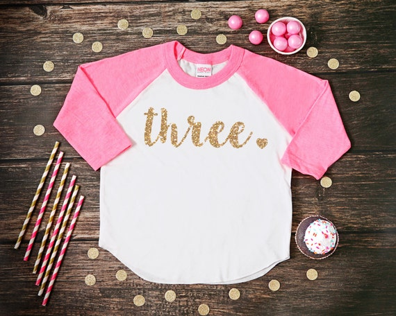Three Year Old Birthday Shirt Third Girl 3