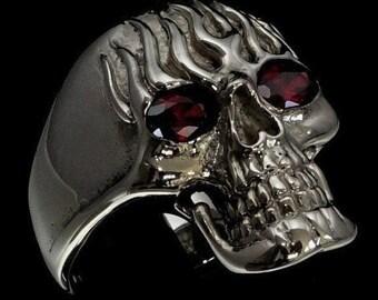 Stainless Steel 2 Color Flaming Ghost Skull Biker Ring