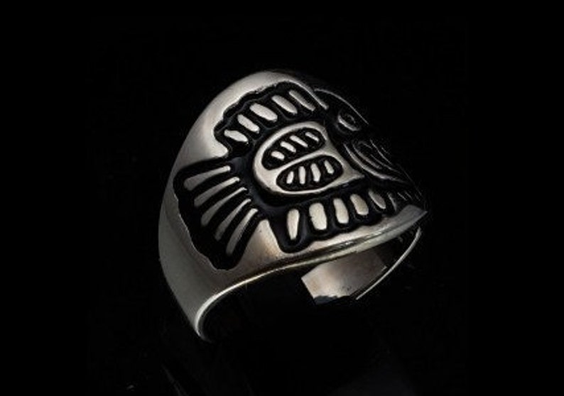 Sterling silver symbol ring Maya Hieroglyphic Fish Central America Mexico with black enamel high polished Sterling silver 925 unisex ring