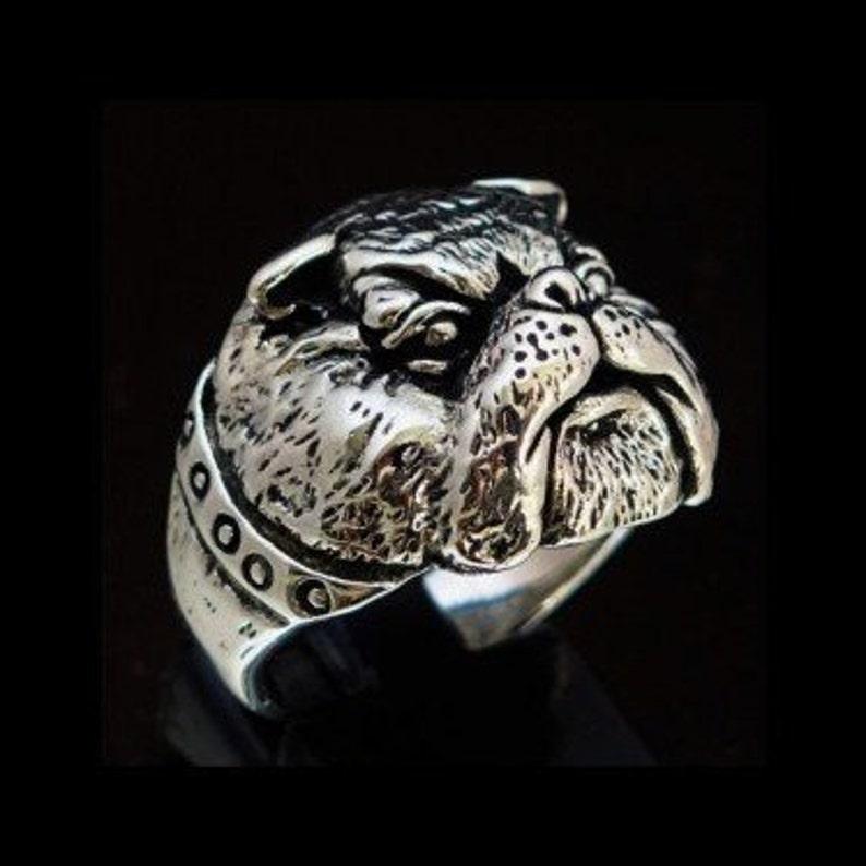 edb686db90c74 Sterling silver animal ring British Bull Dog Army mascot high polished and  antiqued Sterling silver 925